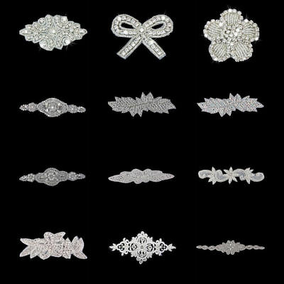 Rhinestone Iron On Applique Bridal Dress Belt Decor Hairband Beaded Trim Motif