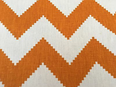 Kravet Orange Linen Chevron Zig Zag Upholstery Fabric Limitless Persimmon 9.5 yd