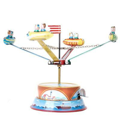 Vintage WIND UP Rotating Airplane Carousel tin toy Classic Collectible Gift New