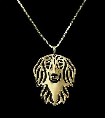 Dachshund Long Haired Dog Pendant Necklace -  Fashion Jewellery - Gold Plated