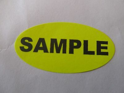 """SAMPLE fluorescent yellow 1"""" x 2"""" oval (20 labels) invoice sticker freebies sa"""