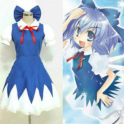 Touhou Project Cirno Cosplay Costume  cos Dress Free shipping B.13