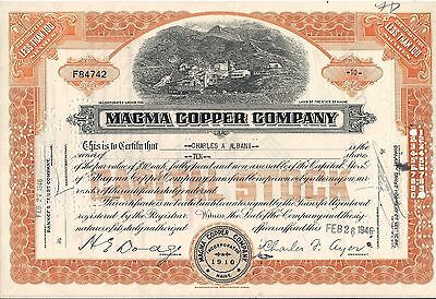 3 different . Magma Copper Company stock certificate. Maine
