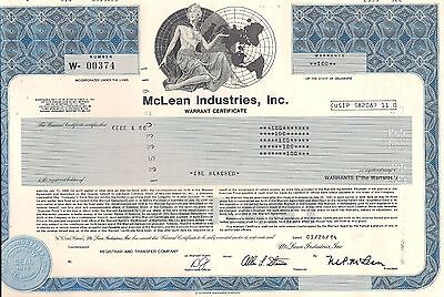 Mclean Industries, Inc.  Warrant certificate 1980's. Delaware