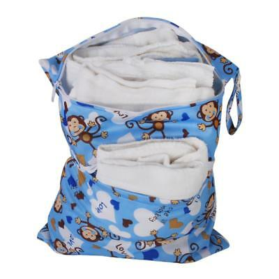 Reusable Zipper Baby Cloth Diaper Nappy Wet Dry Bag Swimmer Tote Monkey Blue