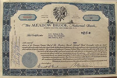 Stock certificate Meadow Brook National Bank, 1961 with Indian cheif head