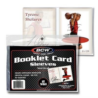 1,000 Bcw Vertical Booklet Trading Card 2 Mil Acid Free Soft Poly Sleeves