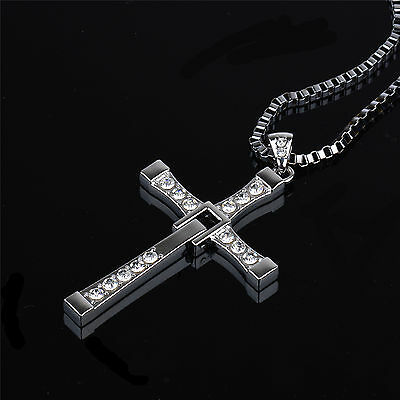 Hot THE FAST and The FURIOUS Dominic Toretto's CROSS PENDANT Chain Necklace 26""