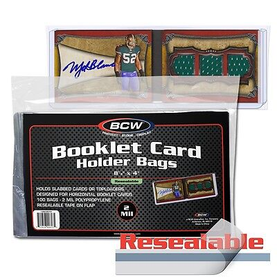 """1000 BCW RESEALABLE BAGS FOR BOOKLET CARD HOLDERS 8 1/4 x 4 w/ 1"""" Flap"""