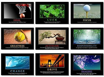 9x Poster Motivational Self Positive Office Quote Inspirational Success Team NEW