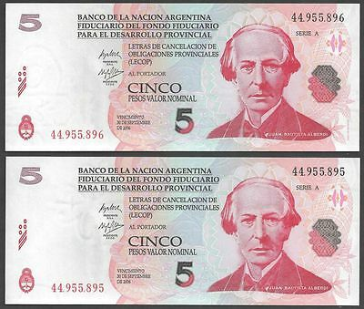 Argentina 5 PESOS Emergency LECOP 2001 UNC LOT X 2 PCS