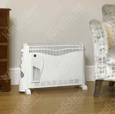 2000W Electric Convector Heater Portable Thermostat 2Kw Fan Wall Mounted White