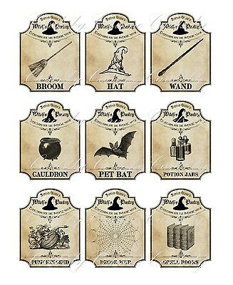 Halloween apothecary 9 bottle jar labels potion witch pantry