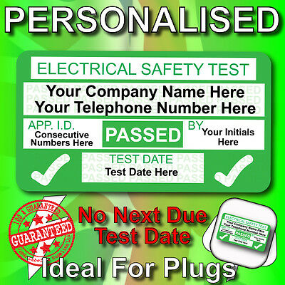 NEW 4th Edition Personalised PASSED PAT Test Labels / Stickers NO NEXT DUE DATE