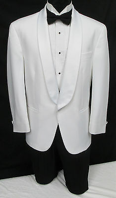 White One Button Satin Shawl Tuxedo Dinner Jacket Wedding Cruise Mason Bond 007