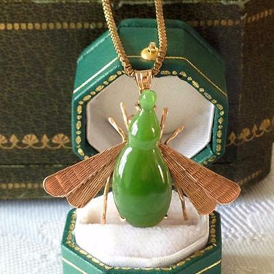 Vintage 14ct GOLD Jade/Chrysoprase LARGE Chunky Bug Insect Pendant Brooch 5.2g