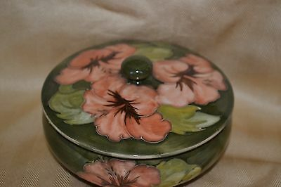 "vintage MOORCROFT green HIBISCUS 5"" lidded bowl tube lined"