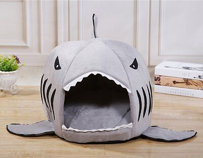 Fleece Lovely Gray Shark Pet House Cosy Cave Cat/Dog Bed Kennel Soft & Warm Tent