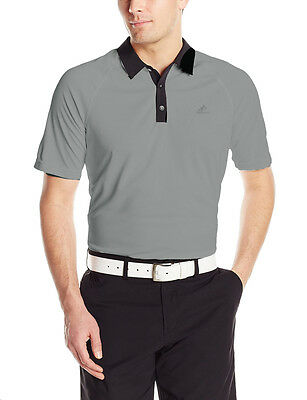 New Adidas Golf Men's Climachill 3-Stripes Polo Shirt Stone-Black - Medium - NWT