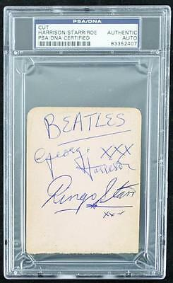 George Harrison, Ringo Starr & Tommy Roe Authentic Signed 3X4 Cut PSA Slabbed