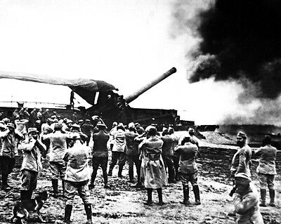 New 11x14 World War I Photo: French Artillery Cannon Fires Upon German Lines