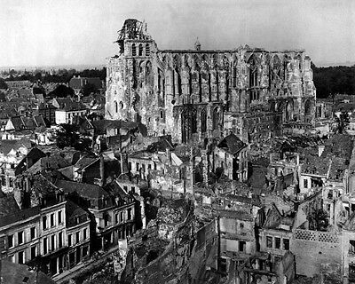 New 11x14 World War I Photo: Ruins around the Cathedral of Saint Quentin, France