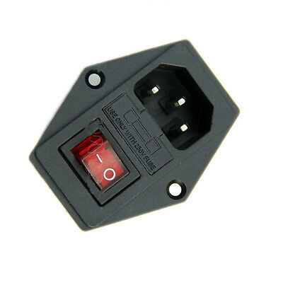AC 250V 10A  Black Red 3 Terminal Power Socket with Fuse Holder