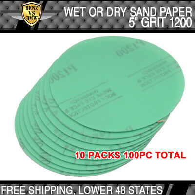 x100 PCS Wet Dry Green Sanding Paper Repair Sand Disc 1200 Grit 5 Inch PSA