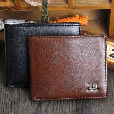 Men's Black Business Leather Pocket Wallet Card Holder Clutch Bifold Slim Purse