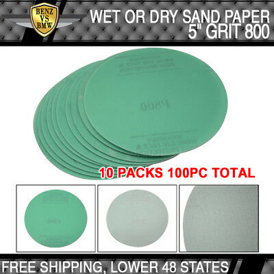 x100PC Wet Dry Green Sanding Paper Collision Repair Sand Disc 800 Grit 5Inch PSA