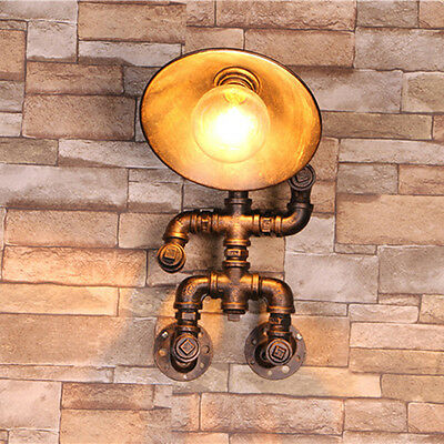 Copper Vintage Robot Style Water Pipe Porch Wall Lamp Wall Sconce Light Fixture