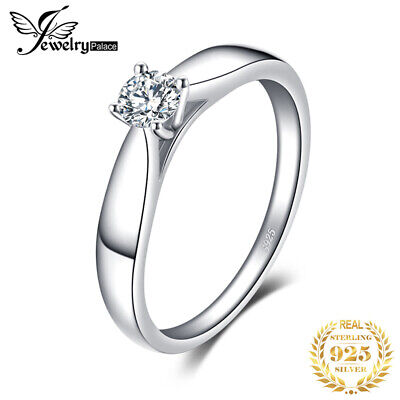 Elegant Solitaire Engagement Rings Cubic Zirconia 925 Sterling Silver For Girls