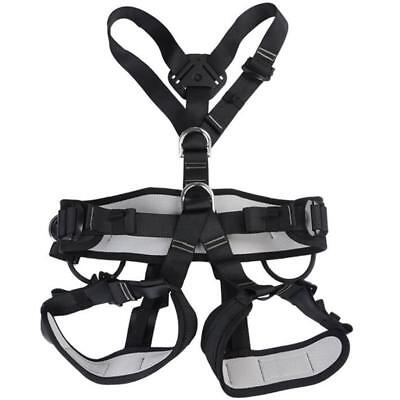 Outdoor Rock Tree Climbing Rappelling Full Body Safety Belt Harness - Black