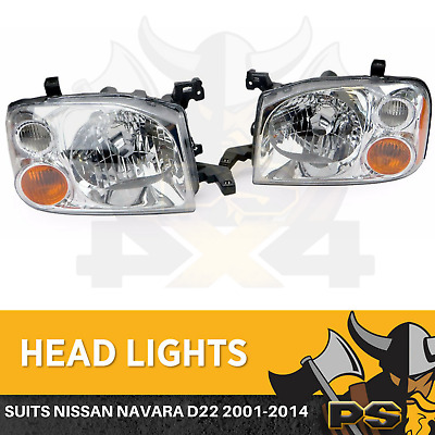 Replacement HeadLights Nissan Navara D22 2001-2014 PAIR Left+Right Head Lights