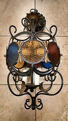 Vintage Cast Iron Hanging Light Lamp Chandelier , Round Stained Glass ,  Leaves