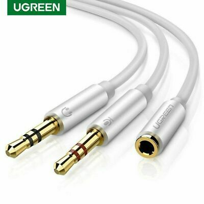Ugreen Headphone Mic Cable Audio Microphone Splitter 3.5mm to 2 Dual 3.5mm fr PC
