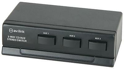 AV Link 128.234 Stereo Audio Selector Switch 3 Way RCA Phono CD AUX DVD - Black