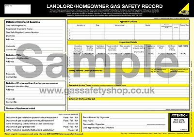 Gas Safe - Landlord / Homeowner Gas Safety Record