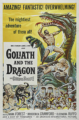 Home Wall Art Print - Vintage Movie Film Poster - GOLIATH & DRAGON - A4,A3,A2,A1