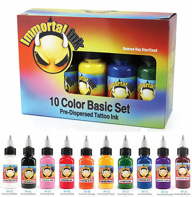 PROFESSIONAL IMMORTAL Tattoo Ink Kit - 10 x 1/2oz Bottle Set