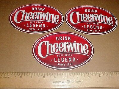 "3 New Cheerwine decal sticker lot soda Soft Drink cola since 1917 6"" inchs"