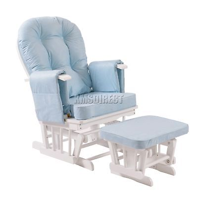 FoxHunter Nursing Glider Maternity Rocking Chair With Stool White Frame Blue New