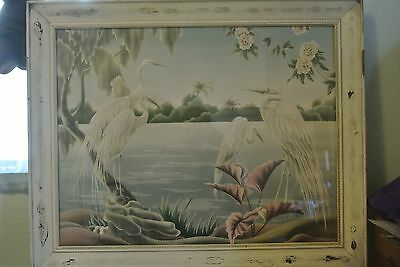 Vintage Mid-Century Egrets PICTURE by TURNER IN DISTRESSED FRAME UNDER GLASS