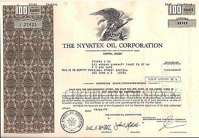 2 different. Nyvatex Oil Corporation 1970's Texas stock certificate