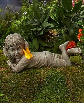 Solar Powered 2 Children Statues Boy Girl Outdoor Garden Patio