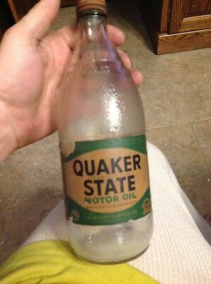quaker state oil bottle  paper label hard to find quart  Oil Container