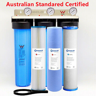Whole House  Water Filter System 20'' x 4.5'' Triple Big Blue (3 stages) + Gauge