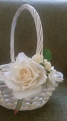 Wedding Flower Girl Wicker Basket White/ Ivory/ Cream for Flowergirl Confetti