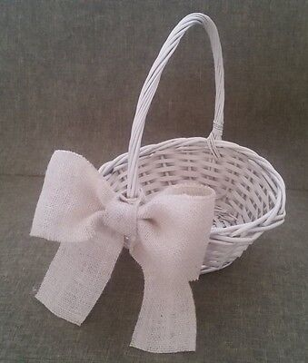 Wedding Flower Girl Wicker Basket Flowergirl Confetti with Burlap Hessian Bow