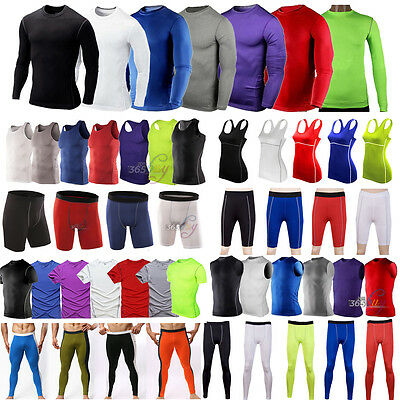 Mens Womens Sport Compression Base Layers Tops Tight T-Shirts/Vests/Pants Shorts